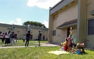 A makeshift memorial for Joewuan Coles, a Miami Northwestern Senior High student shot to death in May. Photo: NBC News
